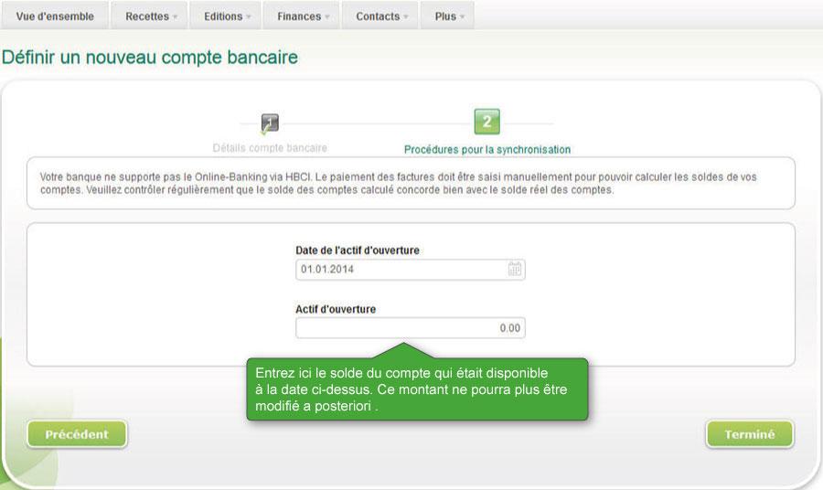 Créer un nouveau compte bancaire
