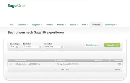 Zusammenarbeit mit dem Treuhänder Export nach Sage 50 Extra